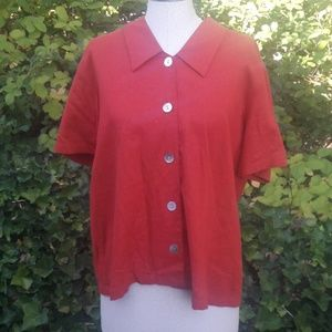 Coldwater creek red button up short sleeve medium